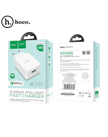 Зарядное устройство HOCO Quick Charge C34A Platinum intelligent USB QC3.0